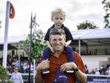 USA-Boyd Martin relaxes with his son after  the Second Day of Dressage.  2017 GBR-Land Rover Burghley Horse Trials. Friday 1 September. Copyright: Libby Law Photography
