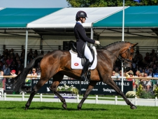 Lauren Kieffer (USA) riding Veronica II, during the dressage phase of the The Land Rover Burghley Horse Trials, near Stamford in Lincolnshire, UK between 30th August to 3rd September 2017