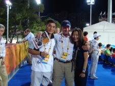 """<a href=""""http://www.chronofhorse.com/luckiest-guy"""">Yang Fujun, George Morris and Michelle Qiang</a>"""
