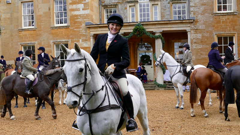 Theresa Sanders mounted on the famous Olympic eventer Lenamore before her day out with the Warwickshire Hunt in England. Photo courtesy of Theresa Sanders