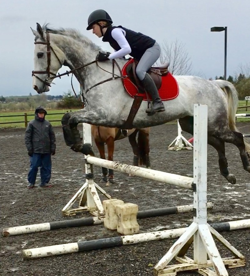 Eric uses two poles on the ground to encourage straightness on the approach and over a jump.