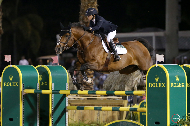 Margie Engle on Royce claimed second in the $380,000 Douglas Elliman Grand Prix . Photo by Sportfot