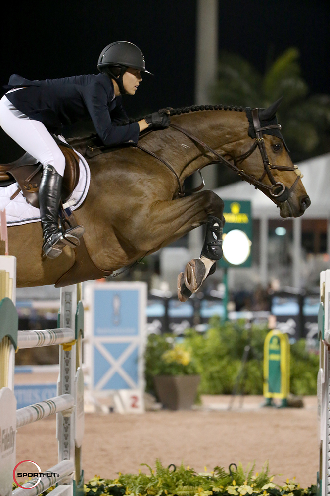 Karen Polle and her longtime partner With Wings flew to the top of the $380,000 Douglas Elliman Grand Prix . Photo by Sportfot