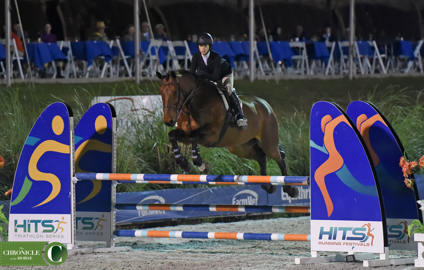 Abigail Lefkowitz leapfrogged up the standings to take third in the HITS Equitation Championship. Photo by Mollie Bailey.