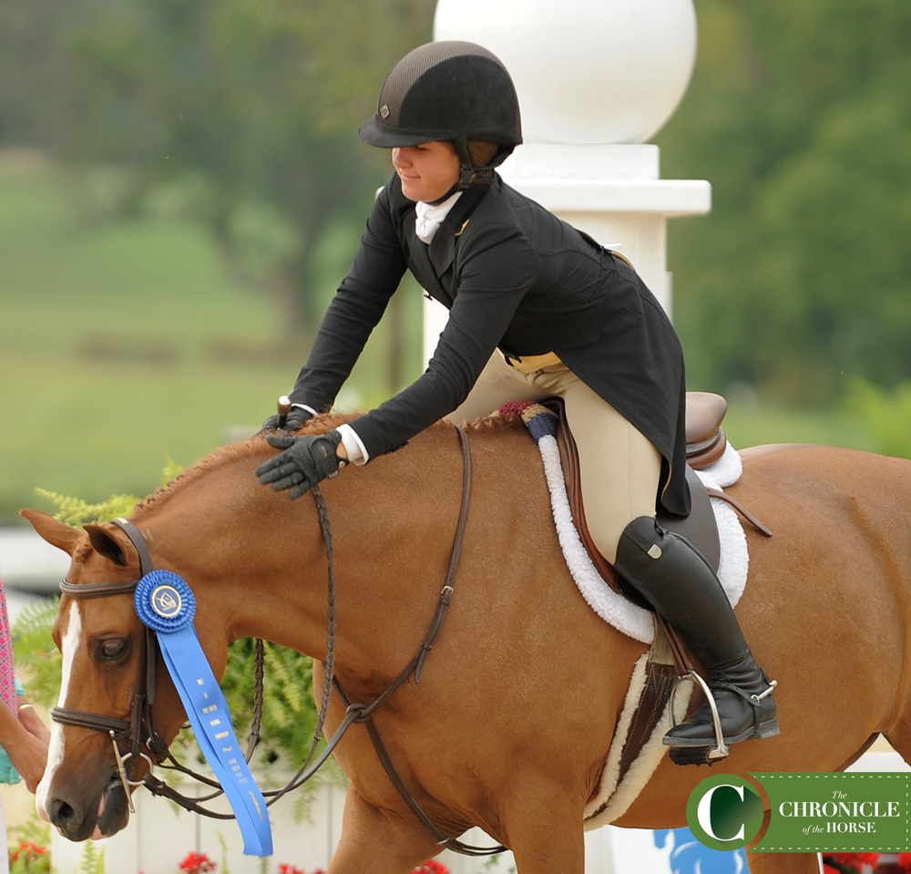 Libbie Gordon and Small Wonder topped the large green pony over fences to win the tricolor. Photo by Laura Lemon.
