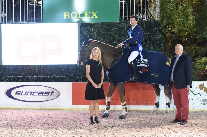 Conor Swail and Simba De La Roque in their winning presentation with Vaneli Bojkova and Michael Stone of Equestrian Sport Productions Photo by Josh Walker for The Chronicle of the Horse