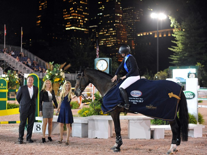 Nicole Bellissimo and Harley David in their winning presentation with her family: Mark, Katherine and Paige Bellissimo Photo by Josh Walker for The Chronicle of the Horse