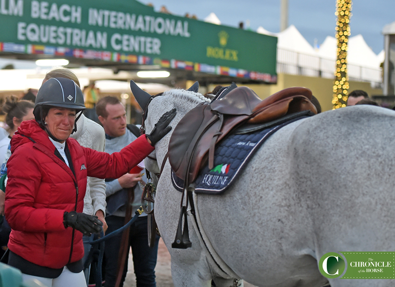 Laura Kraut shed a few tears before mounting Cedric for his retirement ceremony. Photo by Ann Glavan