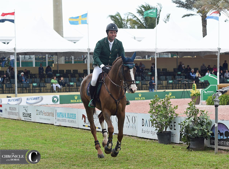 Cian O'Connor had a good sense of humor about Seringat popping out of the ring. Photo by Ann Glavan