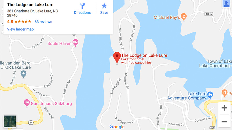 Click here for directions to The Lodge on Lake Lure!