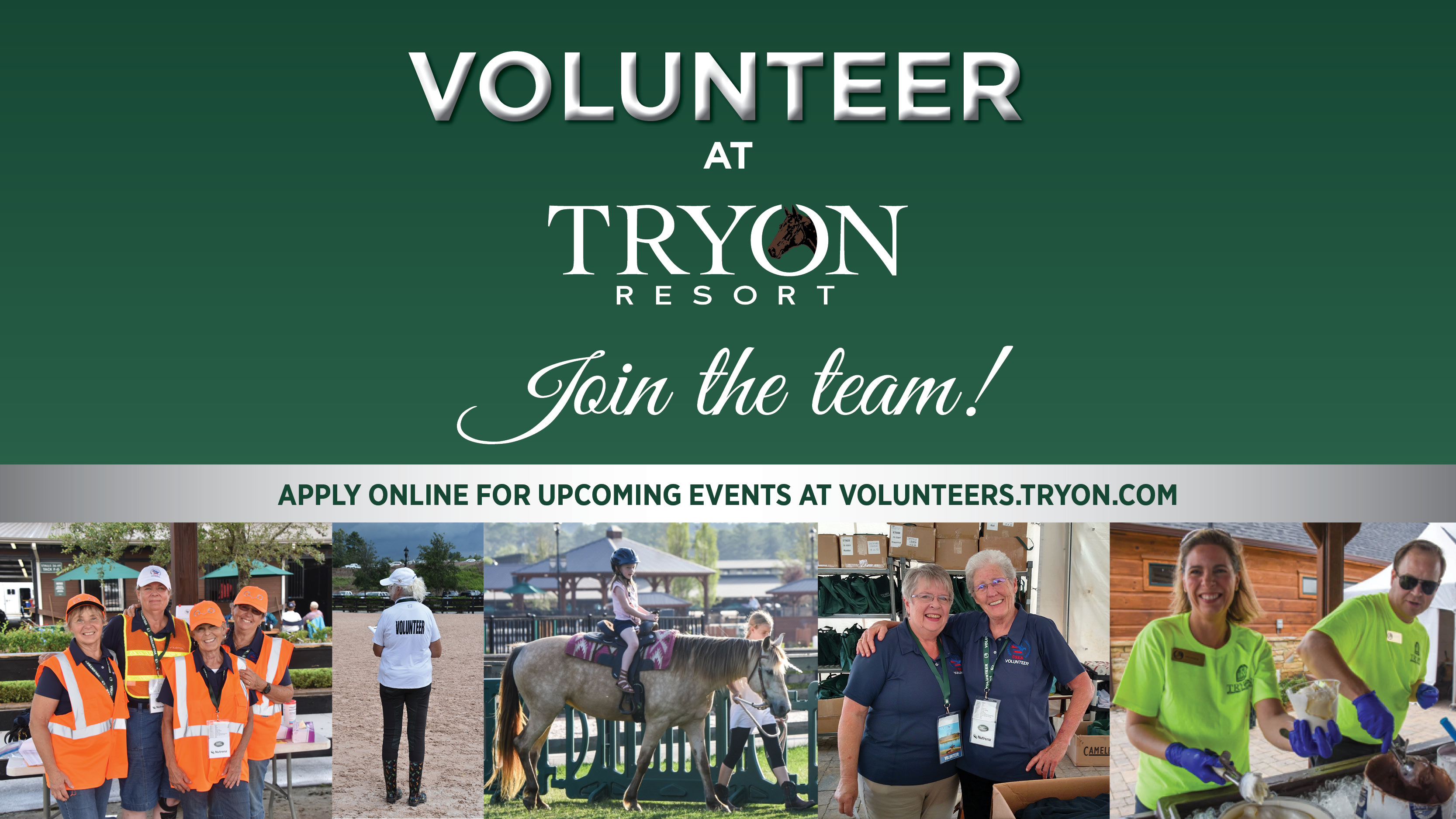 We need YOU! Click to Learn About Volunteering at Tryon Resort!