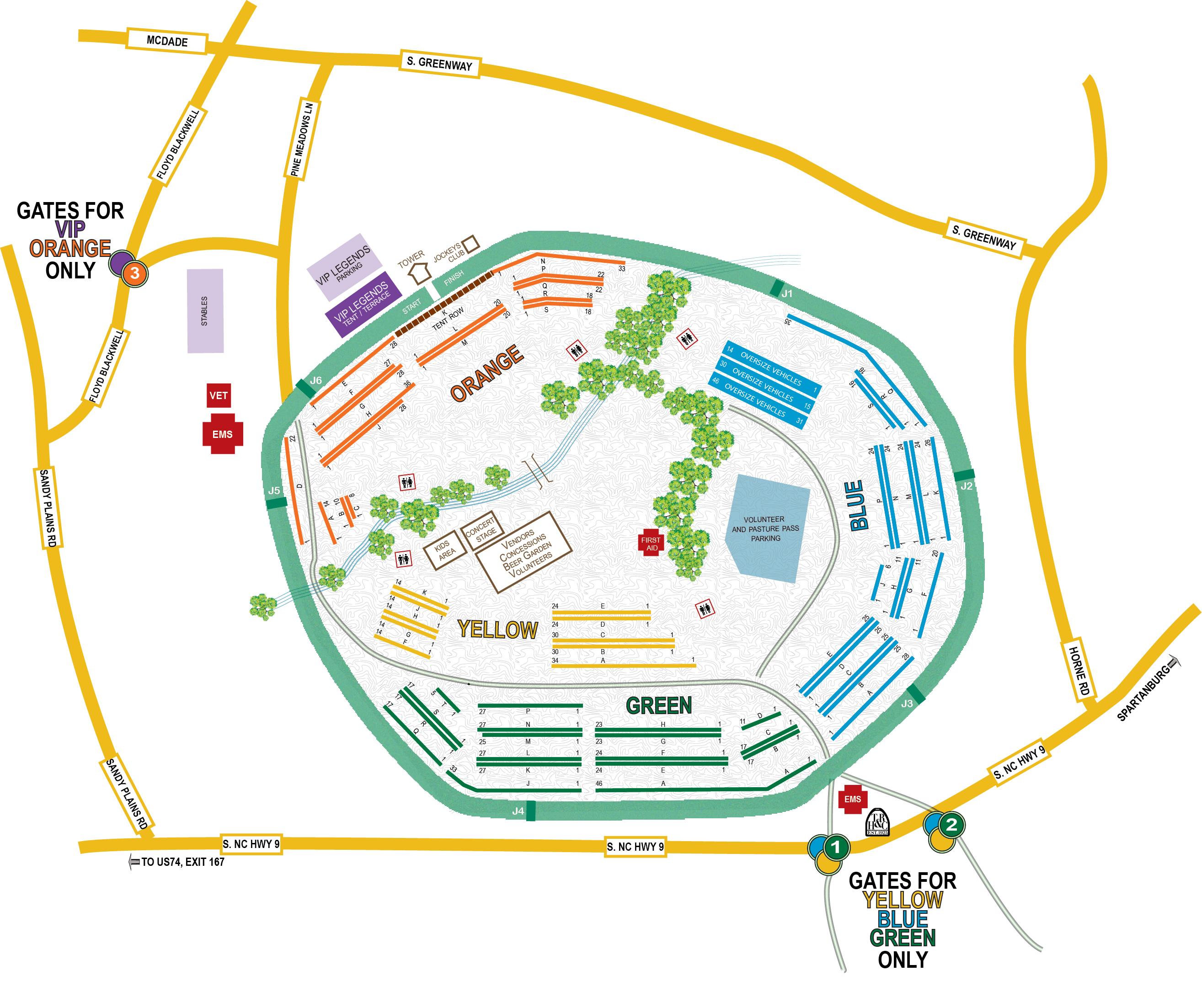 Tryon Block House Races Venue Map