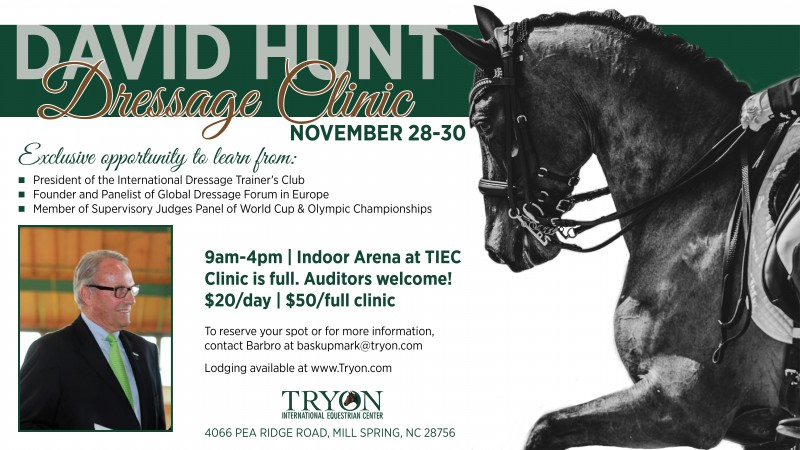 Click here to learn more about the David Hunt Dressage Clinic at TIEC!