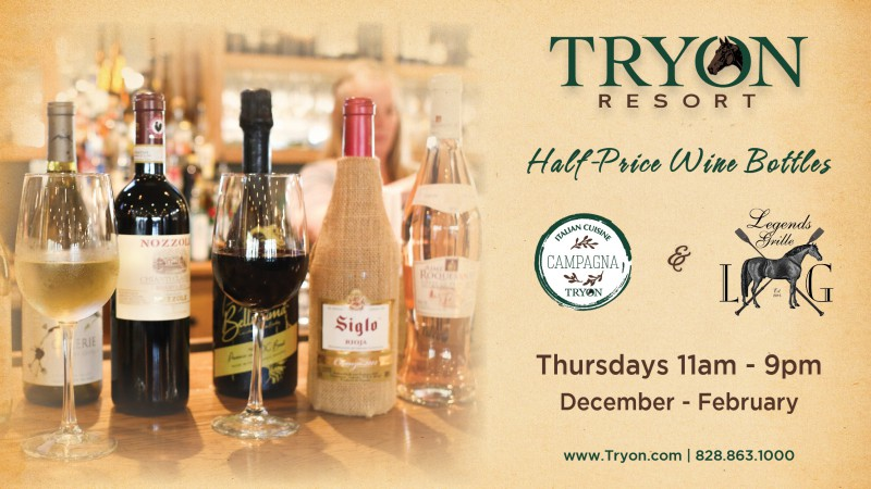 Join Us for Half-Price Wine Bottles Thursdays this Winter at Tryon Resort!